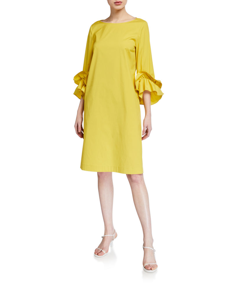 Lafayette 148 New York Whitby 3/4-Sleeve Classic Stretch Cotton Dress