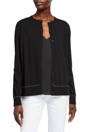 Lafayette 148 New York Cotton Crepe Button Cardigan