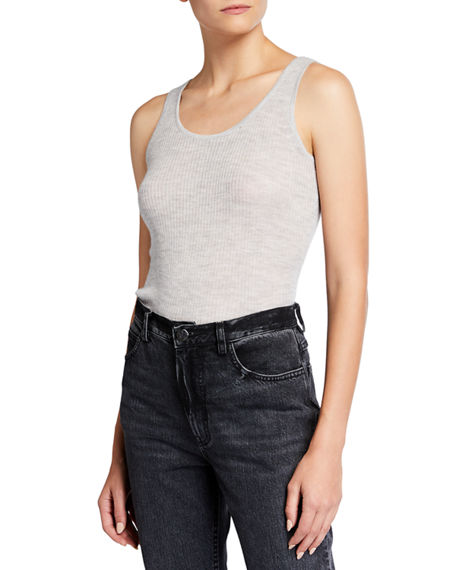 Neiman Marcus Cashmere Collection Superfine Ribbed Tank