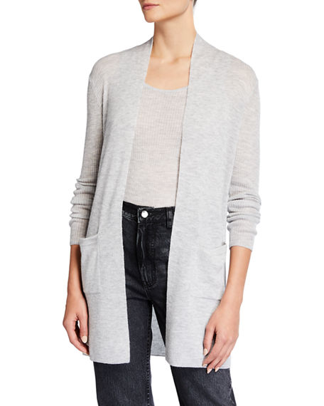 Neiman Marcus Cashmere Collection Superfine Ribbed Cashmere Open Cardigan