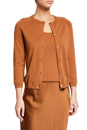 Neiman Marcus Cashmere Collection Superfine Cashmere Button-Front Cardigan