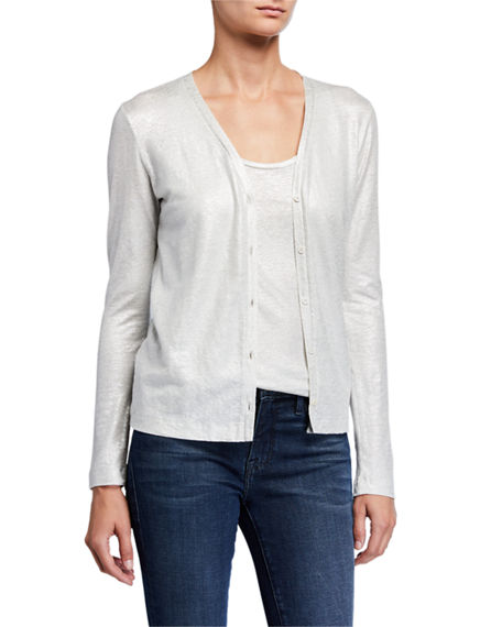 Image 1 of 3: Majestic Filatures Metallic Button-Front Linen Cardigan