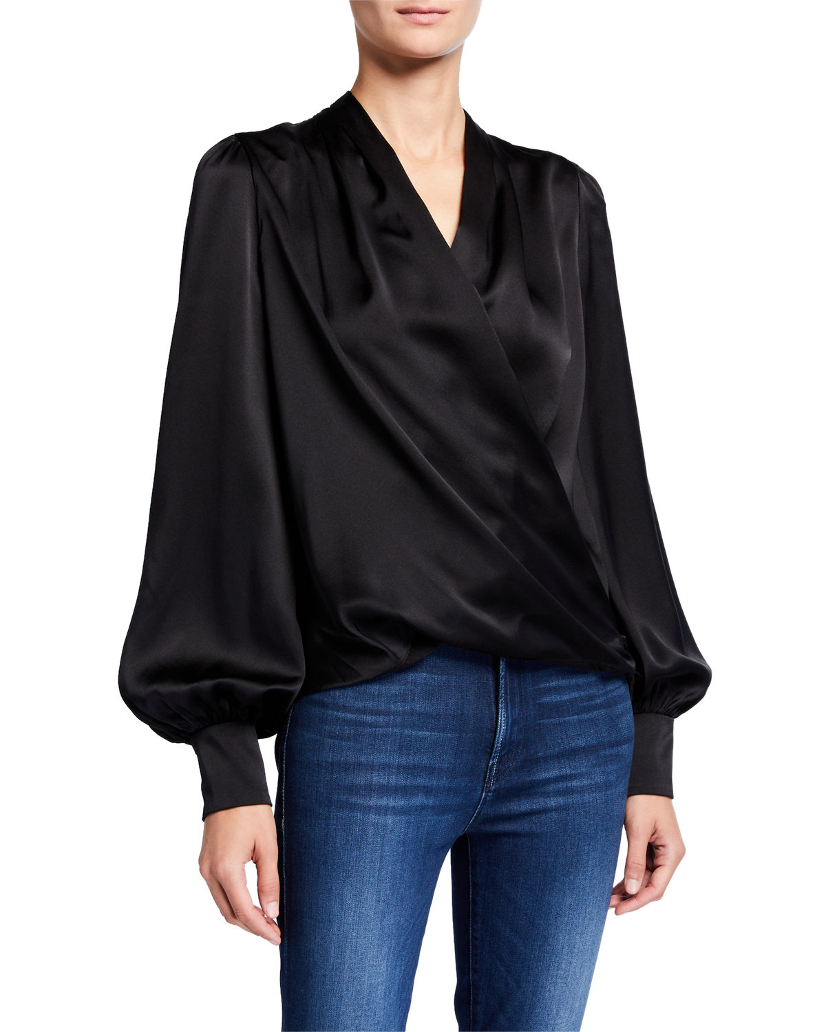 Elie Tahari CASSIA LONG-SLEEVE GATHERED SATIN SHIRT