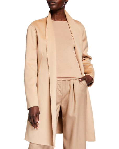 Neiman Marcus Cashmere Collection Belted Double Face Woven Cashmere Coat
