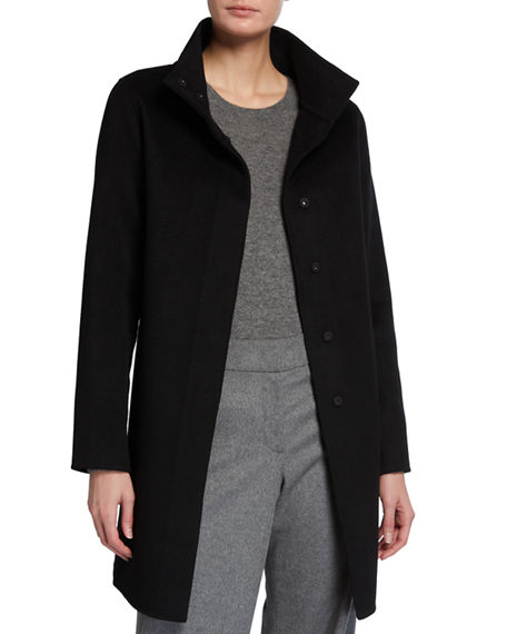 Neiman Marcus Cashmere Collection Double-Face Cashmere Portrait-Collar Snap-Front Coat
