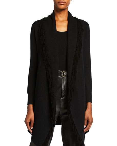 Neiman Marcus Cashmere Collection Suede Fringe Collar Belted Cashmere Cardigan