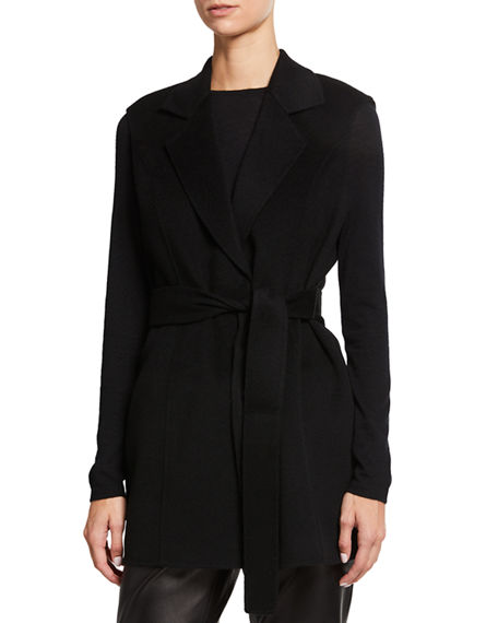 Neiman Marcus Cashmere Collection Double Face Cashmere Belted Notch Collar Vest