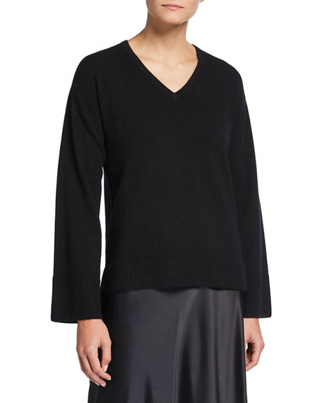 Neiman Marcus Cashmere Collection Cashmere V-Neck Sweater with Honeycomb Trimmed Sleeves