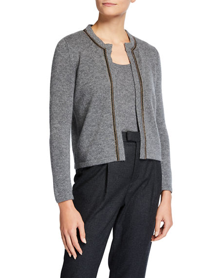 Neiman Marcus Cashmere Collection Chain Trim Cropped Cashmere Cardigan