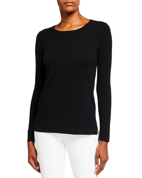 Neiman Marcus Cashmere Collection Plus Size Cashmere Crewneck Sweater