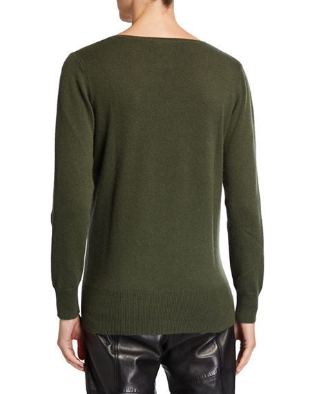 Image 2 of 2: Neiman Marcus Cashmere Collection Relaxed V-Neck Cashmere Sweater