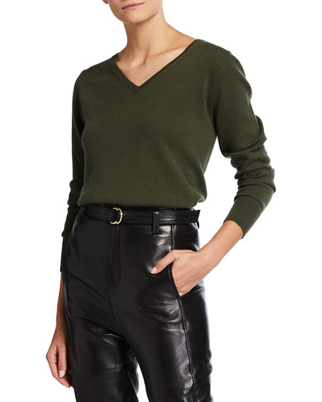 Image 1 of 2: Neiman Marcus Cashmere Collection Relaxed V-Neck Cashmere Sweater