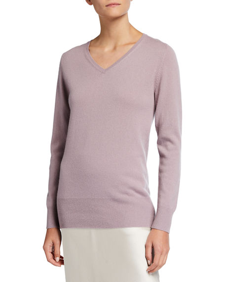 Neiman Marcus Cashmere Collection Relaxed V-Neck Cashmere Sweater
