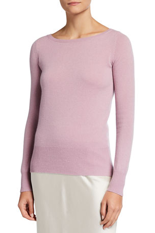 Neiman Marcus Cashmere Collection Cashmere Bateau-Neck Sweater