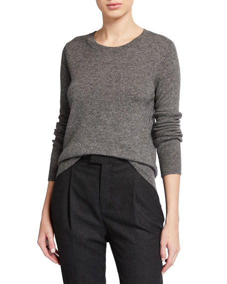 Neiman Marcus Cashmere Collection Classic Crewneck Cashmere Sweater