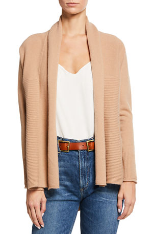 Neiman Marcus Cashmere Collection Cashmere Ribbed Drape Cardigan
