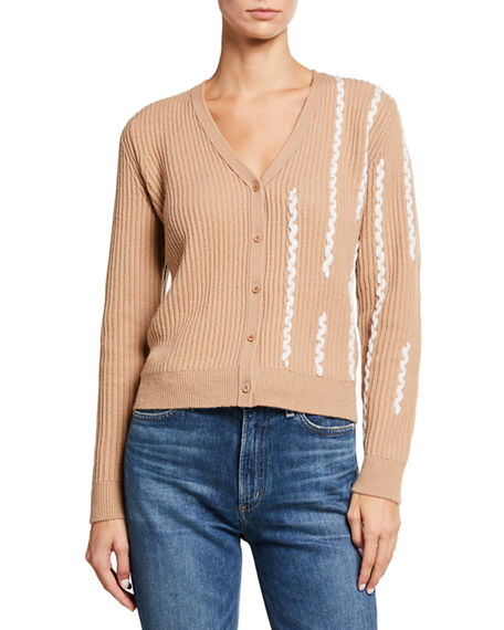 Neiman Marcus Cashmere Collection Braided Button-Front Cashmere Cardigan