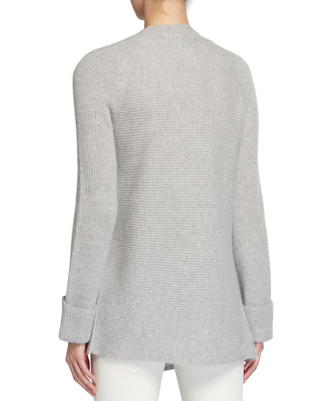 Image 2 of 2: Neiman Marcus Cashmere Collection Ribbed Open-Front Cashmere Cardigan with Cuff