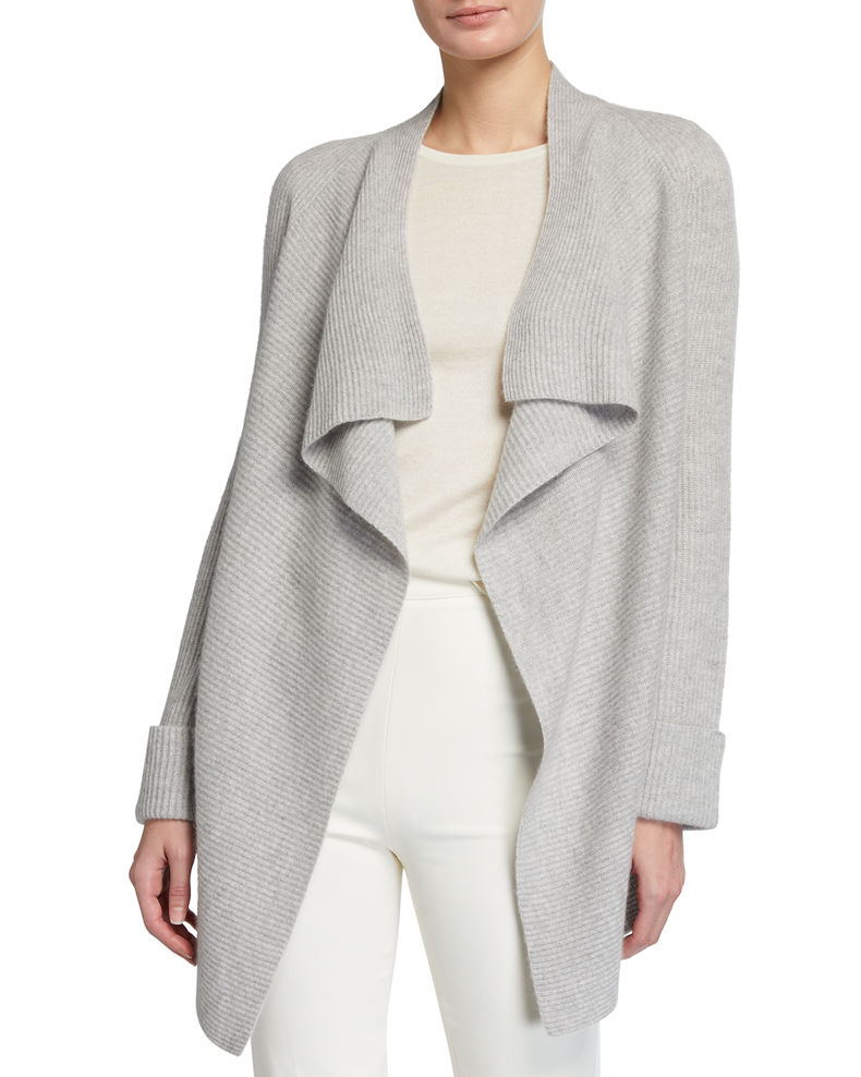 Neiman Marcus Cashmere Collection Ribbed Open-Front Cashmere Cardigan with Cuff