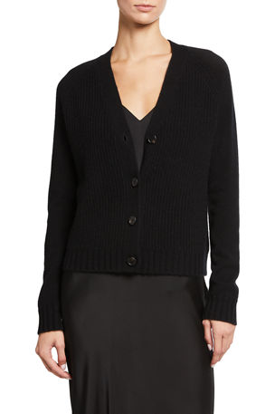 Neiman Marcus Cashmere Collection Cashmere Ribbed Front Button Cardigan