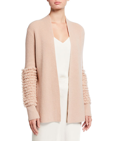 Neiman Marcus Cashmere Collection Fringe Knit Cuff Cashmere Cardigan