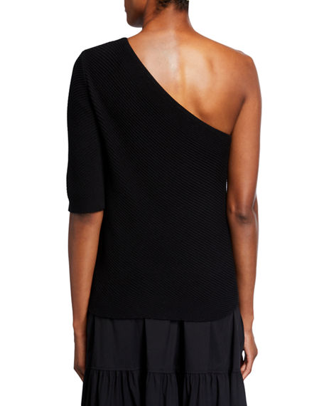 Image 2 of 2: Lafayette 148 New York One-Shoulder Diagonal Stitch Cotton-Silk Tape Sweater