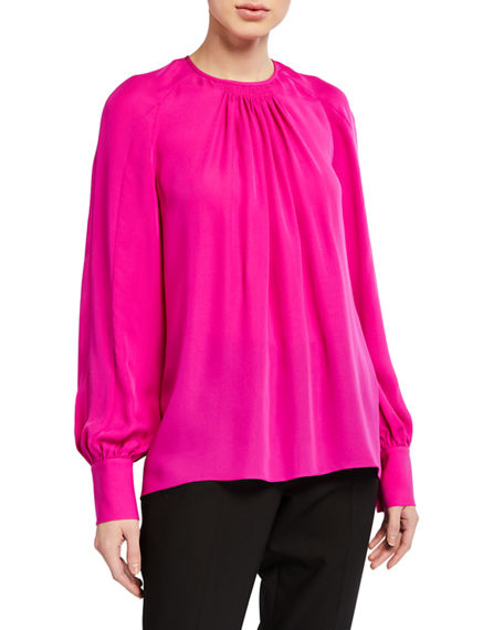 Image 1 of 2: Elie Tahari Eliza Long-Sleeve Silk Shirt