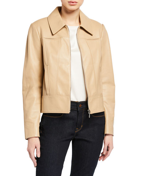Image 3 of 3: Elie Tahari Addison Zip-Front Leather Jacket