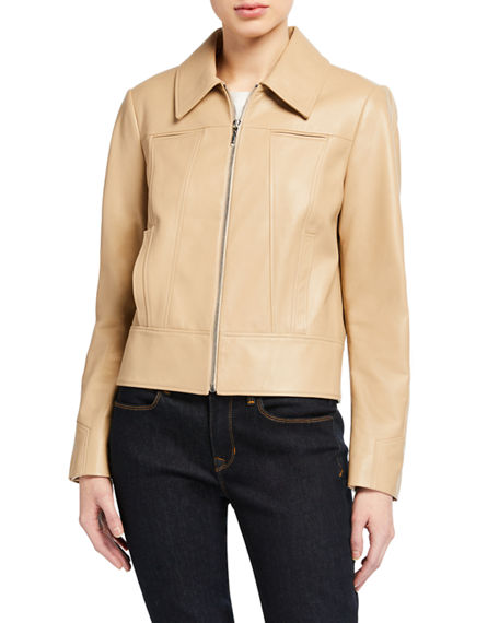Image 1 of 3: Elie Tahari Addison Zip-Front Leather Jacket