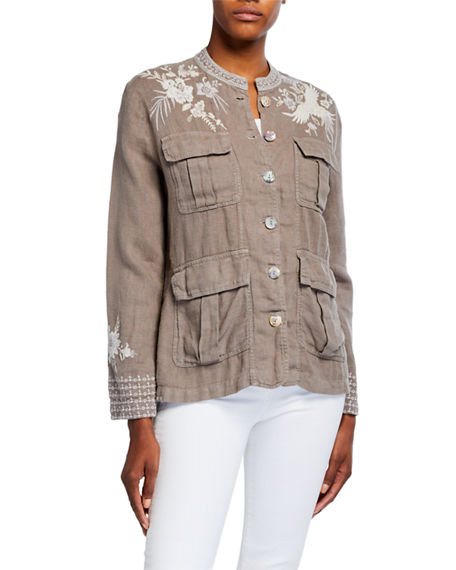 Image 2 of 3: Johnny Was Plus Size Oleander Embroidered Linen Safari Jacket