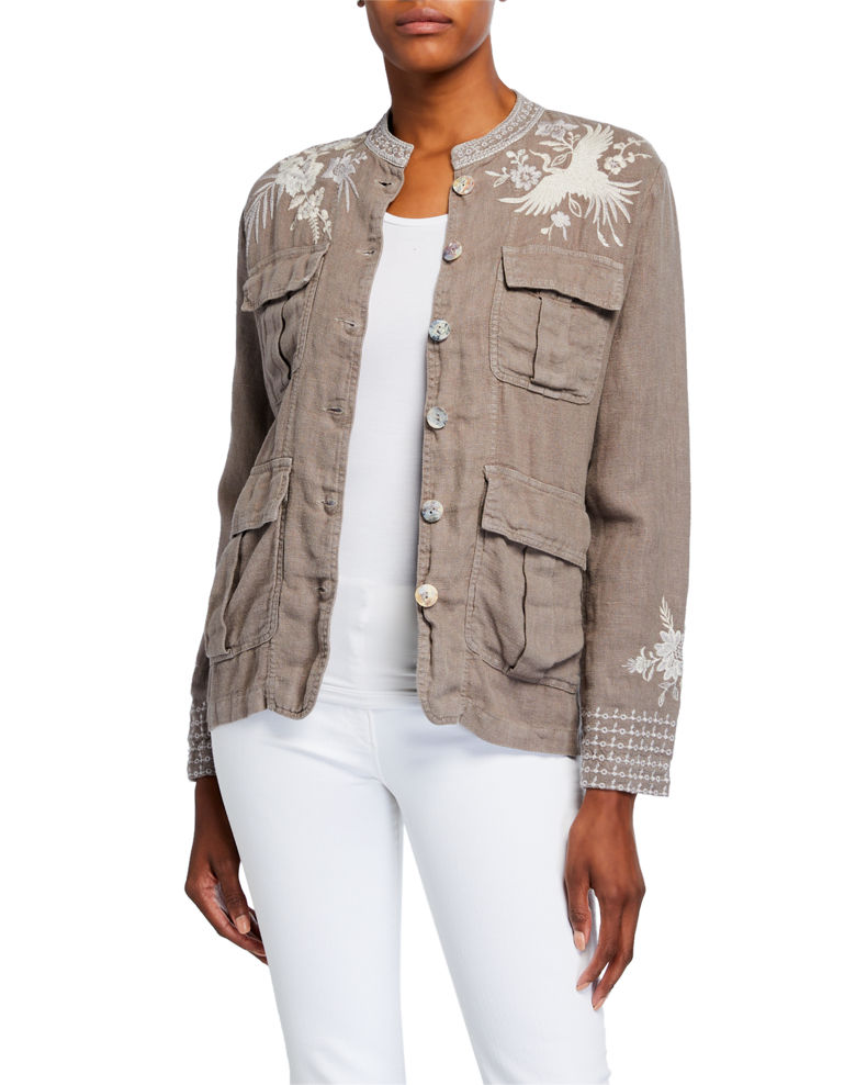 Johnny Was Plus Size Oleander Embroidered Linen Safari Jacket