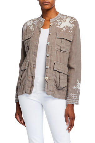 Johnny Was Oleander Embroidered Linen Safari Jacket