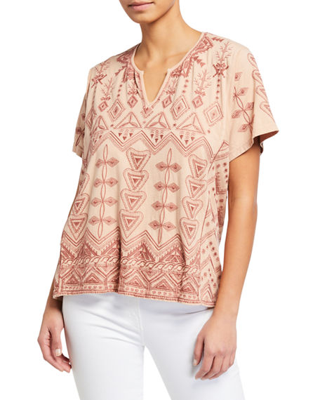 Johnny Was Eyal Short-Sleeve Embroidered Boxy Tee