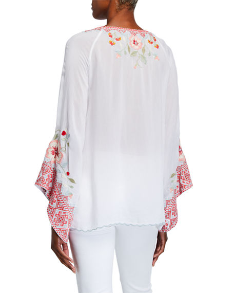 Image 2 of 3: Johnny Was Petite Grace Embroidered Flare-Sleeve Top