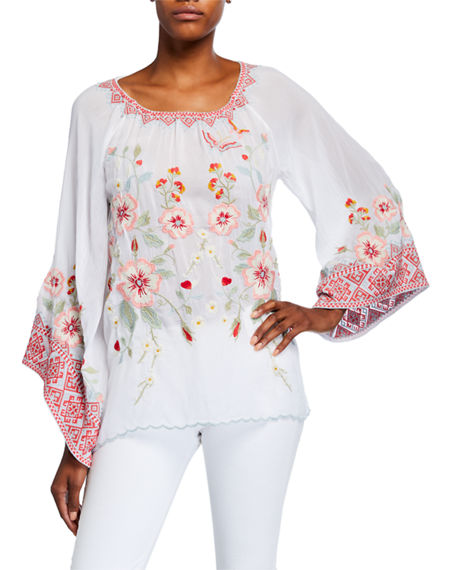 Image 1 of 3: Johnny Was Petite Grace Embroidered Flare-Sleeve Top