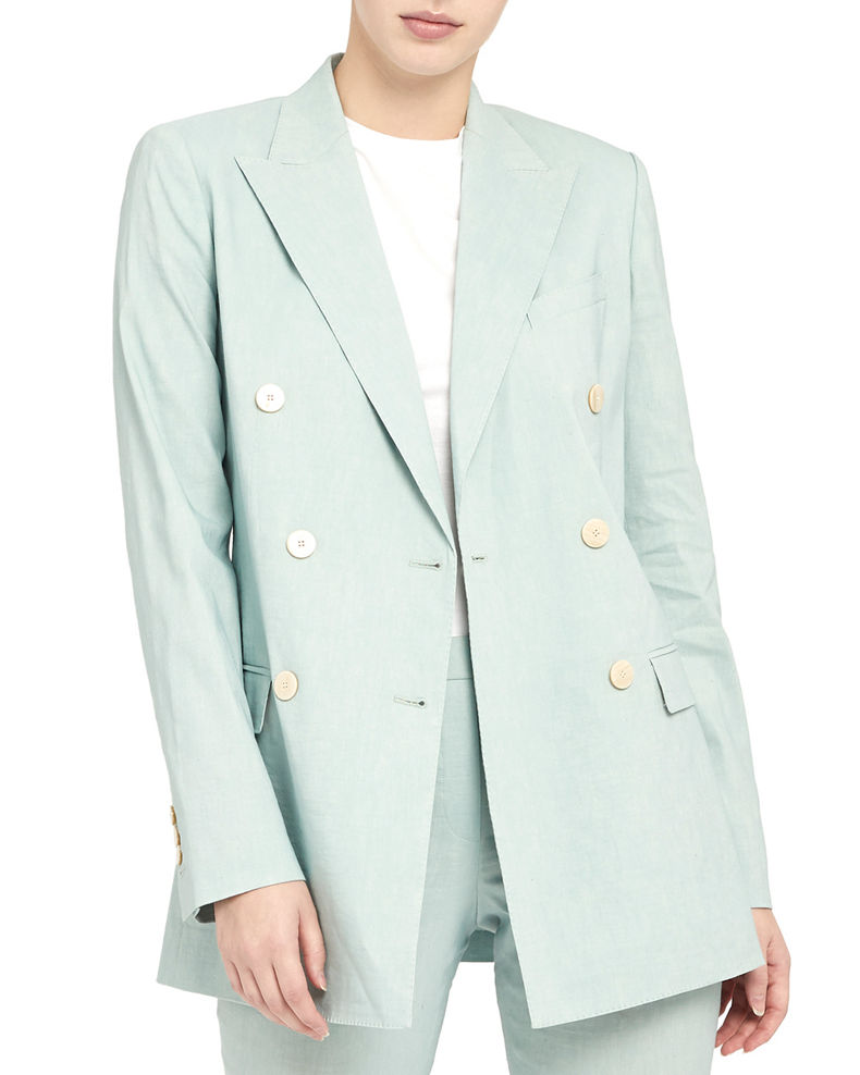 Theory Double Breasted Tailored Linen-Blend Jacket