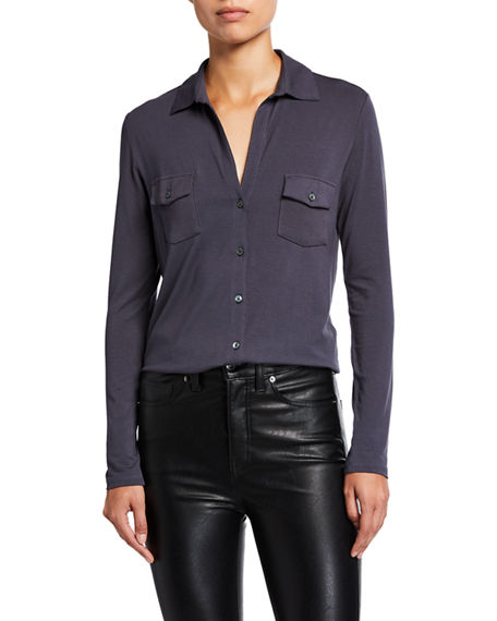 Majestic Filatures Soft Touch Long-Sleeve Button-Down Shirt
