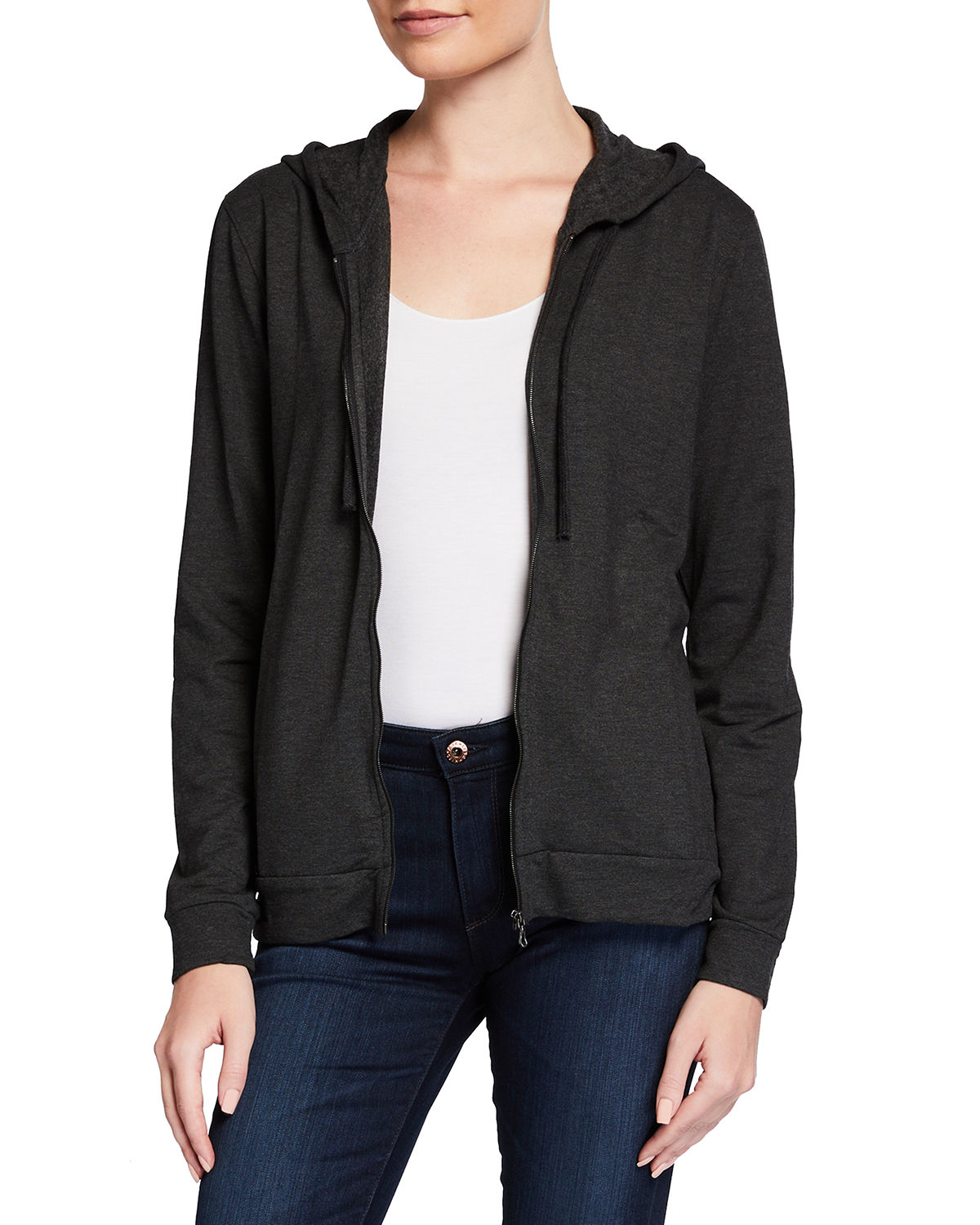 Zip-Front Stretch Knit Hoodie