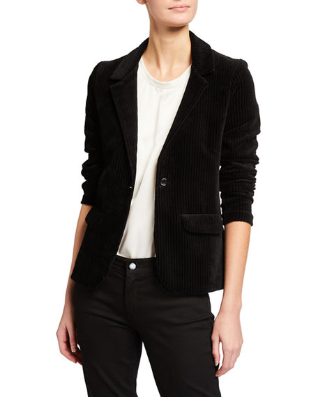 Majestic Filatures Ribbed Cotton One-Button Blazer