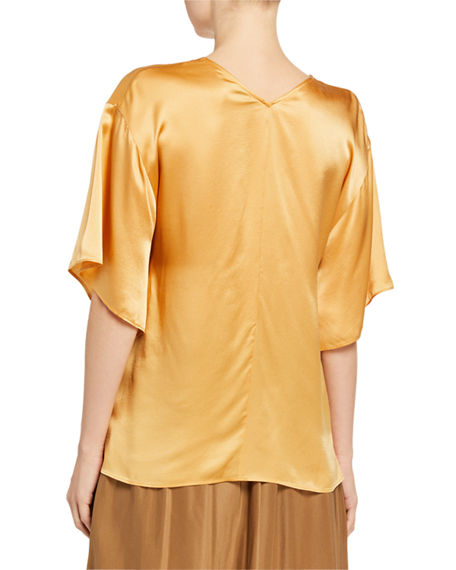 Image 2 of 2: Vince Double V-Neck 1/2-Sleeve Satin Blouse