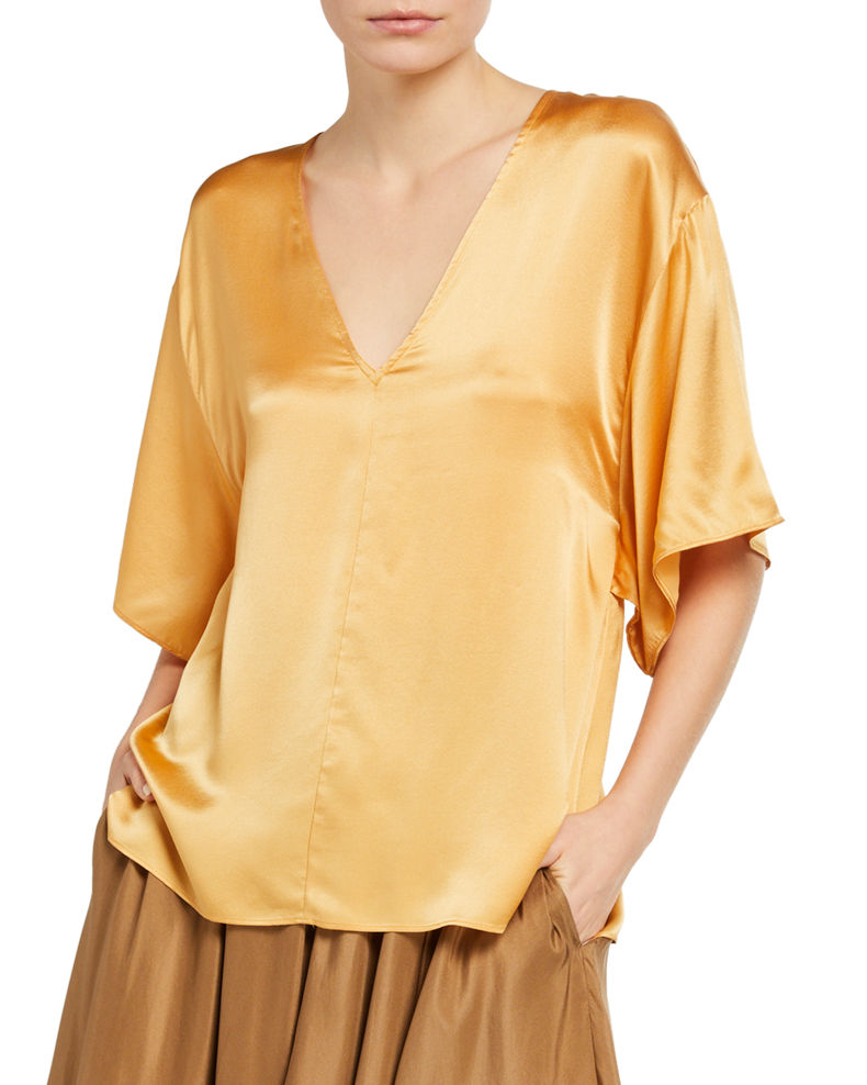 Vince Double V-Neck 1/2-Sleeve Satin Blouse