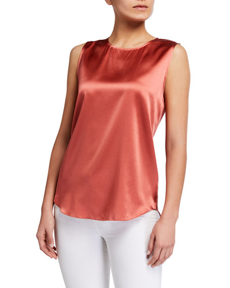 Eileen Fisher Stretch Silk Charmeuse Crewneck Tank