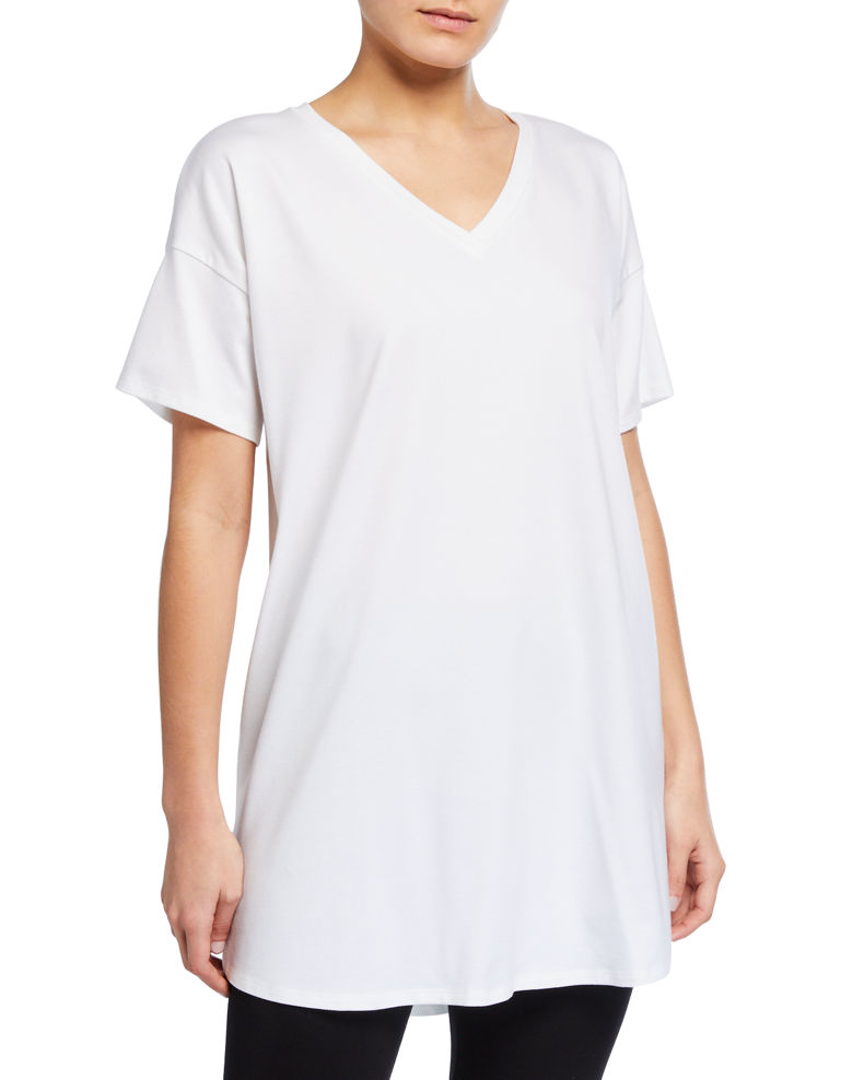 Eileen Fisher V-Neck Short-Sleeve Organic Cotton Jersey Tunic