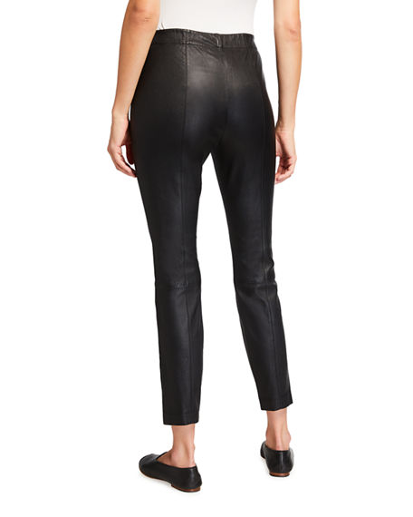 Image 2 of 3: Lafayette 148 New York Murray Skinny Leather Pants