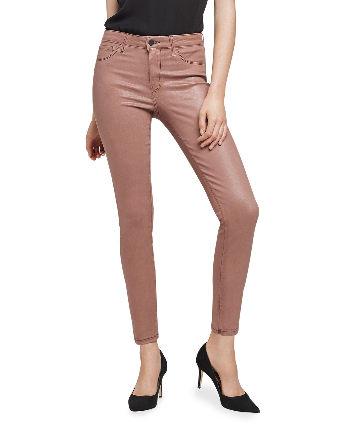 L Agence MARGUERITE COATED COTTON DENIM HIGH-RISE SKINNY JEANS