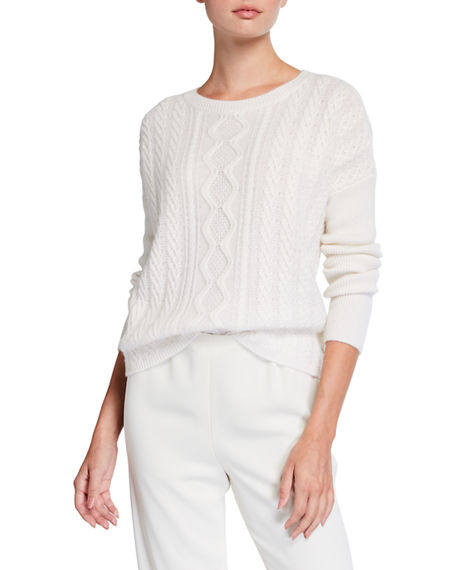 Neiman Marcus Cashmere Collection Cashmere Boat-Neck High-Low Cable-Knit Sweater