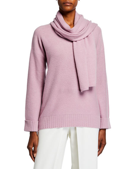 Neiman Marcus Cashmere Collection Cashmere V-Neck Sweater with Removable Scarf