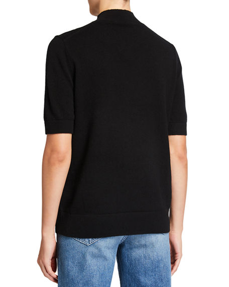 Image 2 of 2: Lafayette 148 New York Cashmere Mock-Neck Sweater with Metallic