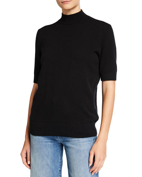 Lafayette 148 New York Cashmere Mock-Neck Sweater with Metallic