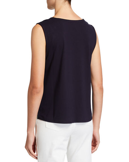 Image 2 of 3: Eileen Fisher V-Neck Button-Front Sleeveless Top